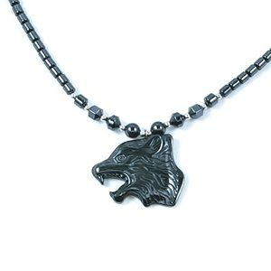 Hematite Beaded Necklace Wolf Pendant